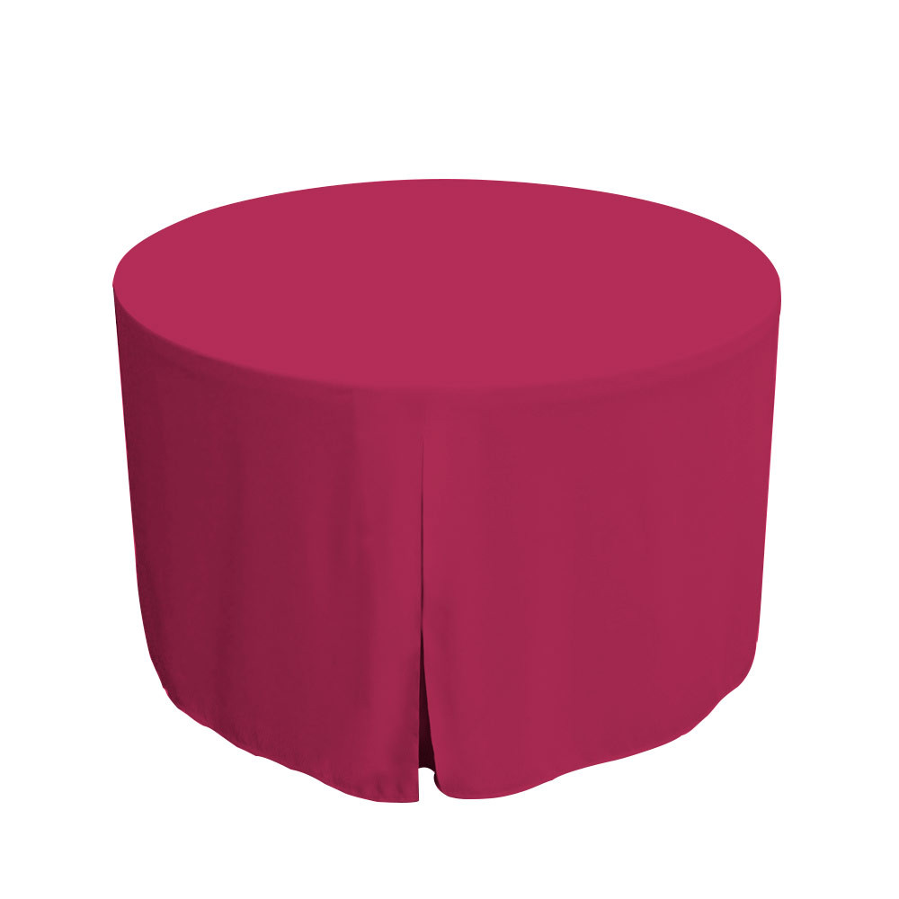 """Tablevogue is a fitted table cover or custom-sized table cloth. This fitted table cloth is a solid Fuchsia table cloth, or as we call it table cover, is designed to fit a standard 48-inch round folding table.  Made from 100% woven polyester 300 thread count fabric. Stitched edges create a custom look while to-the-floor coverage neatly disguises table legs. This table cloth cover makes outdoor entertaining and buffet style service a breeze!   Our custom fitted table cloth can be screen-printed or embroidered to match your brand.  Dimensions: 29"""" high x 48"""" diameter, fits a standard 48-inch round folding table.  Care Instructions: 100% Polyester, Machine wash warm, tumble dry low. Patented Soil-Release Feature allows laundering at 120-degree water temp (as opposed to 160-degrees) - reducing rejects, providing a longer shelf life, conserving energy, and saving money.   More Info: Tablevogue offers a variety of table cloths including a card table covers, round table covers, banquet table covers, square table covers and rectangle table covers. Tablevogue fitted table covers are made to fit standard folding tables."""