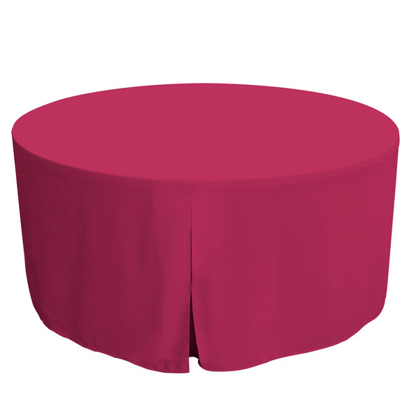 """Tablevogue is a fitted table cover or custom-sized table cloth. This fitted table cloth is a solid Fuchsia table cloth, or as we call it table cover, is designed to fit a standard 60-inch round folding table.   Made from 100% woven polyester 300 thread count fabric. Stitched edges create a custom look while to-the-floor coverage neatly disguises table legs. This table cloth cover makes outdoor entertaining and buffet style service a breeze!   Our custom fitted table cloth can be screen-printed or embroidered to match your brand.  Dimensions: 29"""" high x 60"""" diameter, fits a standard 60-inch round folding table.  Care Instructions: 100% Polyester, Machine wash warm, tumble dry low. Patented Soil-Release Feature allows laundering at 120-degree water temp (as opposed to 160-degrees) - reducing rejects, providing a longer shelf life, conserving energy, and saving money.   More Info: Tablevogue offers a variety of table cloths including a card table covers, round table covers, banquet table covers, square table covers and rectangle table covers. Tablevogue fitted table covers are made to fit standard folding tables."""