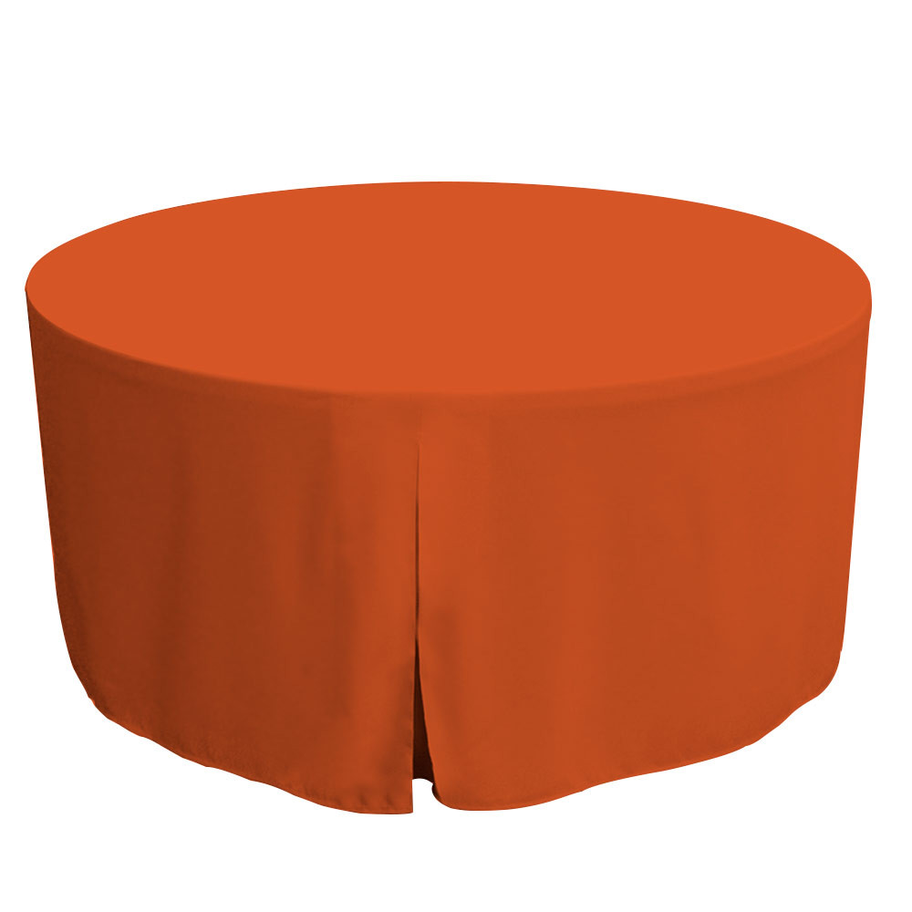 """Tablevogue is a fitted table cover or custom-sized table cloth. This fitted table cloth is a solid Orange table cloth, or as we call it table cover, is designed to fit a standard 60-inch round folding table.  Great for tailgating if you root for Clemson Tennessee Cleveland or more.  Made from 100% woven polyester 300 thread count fabric. Stitched edges create a custom look while to-the-floor coverage neatly disguises table legs. This table cloth cover makes outdoor entertaining and buffet style service a breeze!   Our custom fitted table cloth can be screen-printed or embroidered to match your brand.  Dimensions: 29"""" high x 60"""" diameter, fits a standard 60-inch round folding table.  Care Instructions: 100% Polyester, Machine wash warm, tumble dry low. Patented Soil-Release Feature allows laundering at 120-degree water temp (as opposed to 160-degrees) - reducing rejects, providing a longer shelf life, conserving energy, and saving money.   More Info: Tablevogue offers a variety of table cloths including a card table covers, round table covers, banquet table covers, square table covers and rectangle table covers. Tablevogue fitted table covers are made to fit standard folding tables."""