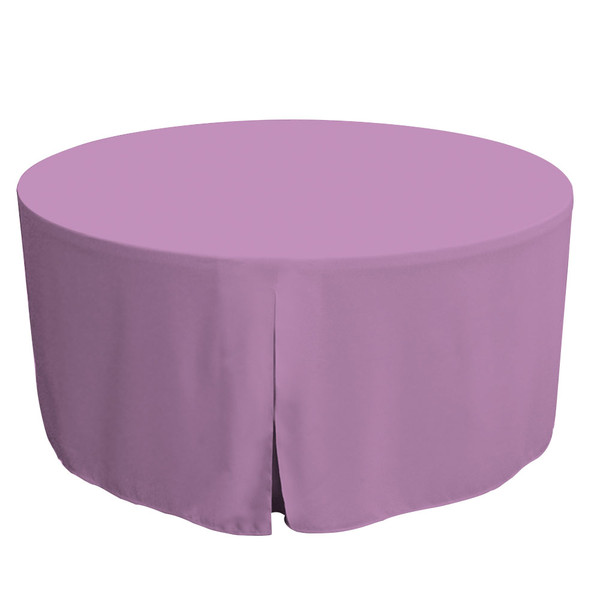 """Tablevogue is a fitted table cover or custom-sized table cloth. This fitted table cloth is a solid Lilac table cloth, or as we call it table cover, is designed to fit a standard 60-inch round folding table.   Made from 100% woven polyester 300 thread count fabric. Stitched edges create a custom look while to-the-floor coverage neatly disguises table legs. This table cloth cover makes outdoor entertaining and buffet style service a breeze!   Our custom fitted table cloth can be screen-printed or embroidered to match your brand.  Dimensions: 29"""" high x 60"""" diameter, fits a standard 60-inch round folding table.  Care Instructions: 100% Polyester, Machine wash warm, tumble dry low. Patented Soil-Release Feature allows laundering at 120-degree water temp (as opposed to 160-degrees) - reducing rejects, providing a longer shelf life, conserving energy, and saving money.   More Info: Tablevogue offers a variety of table cloths including a card table covers, round table covers, banquet table covers, square table covers and rectangle table covers. Tablevogue fitted table covers are made to fit standard folding tables."""