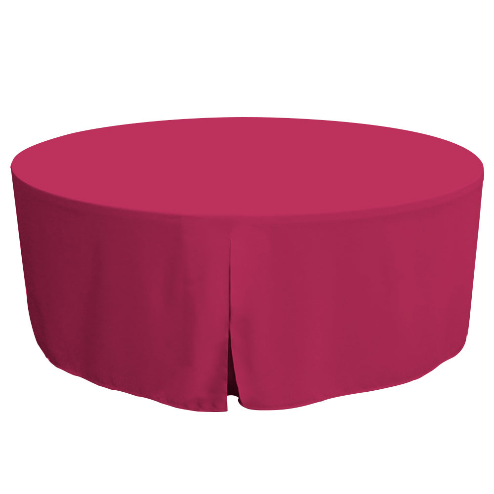"""Tablevogue is a fitted table cover or custom-sized table cloth. This fitted table cloth is a solid Fuchsia table cloth, or as we call it table cover, is designed to fit a standard 72-inch round folding table.  Made from 100% woven polyester 300 thread count fabric. Stitched edges create a custom look while to-the-floor coverage neatly disguises table legs. This table cloth cover makes outdoor entertaining and buffet style service a breeze!   Our custom fitted table cloth can be screen printed or embroidered to match your brand.  Dimensions: 29"""" high x 72"""" diameter, fits a standard 72-inch round folding table.  Care Instructions: 100% Polyester, Machine wash warm, tumble dry low. Patented Soil-Release Feature allows laundering at 120 degree water temp (as opposed to 160 degrees) - reducing rejects, providing a longer shelf life, conserving energy, and saving money.   More Info: Tablevogue offers a variety of table cloths including a card table covers, round table covers, banquet table covers, square table covers and rectangle table covers. Tablevogue fitted table covers are made to fit standard folding tables."""
