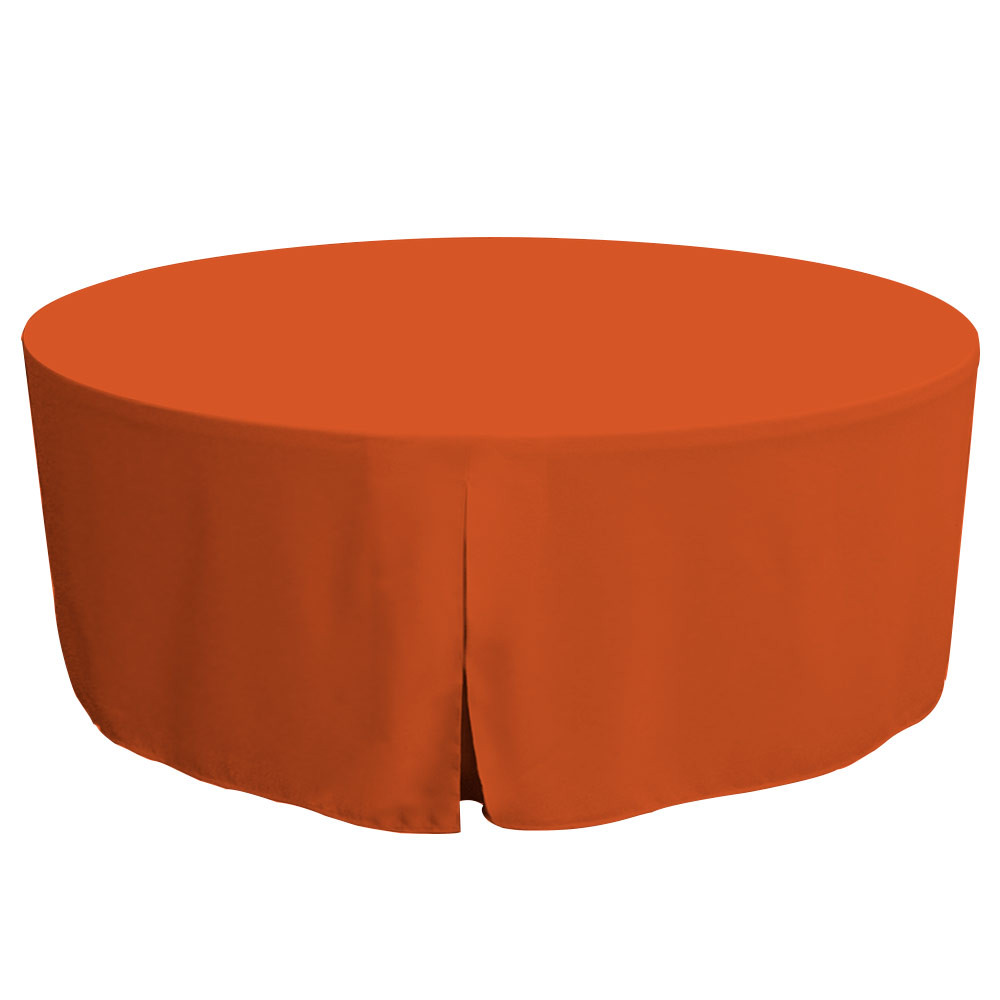 "Tablevogue is a fitted table cover or custom-sized table cloth. This fitted table cloth is a solid Orange table cloth, or as we call it table cover, is designed to fit a standard 72-inch round folding table.  Great for tailgating if you root for Clemson Tennessee Cleveland or more.  Made from 100% woven polyester 300 thread count fabric. Stitched edges create a custom look while to-the-floor coverage neatly disguises table legs. This table cloth cover makes outdoor entertaining and buffet style service a breeze!   Our custom fitted table cloth can be screen printed or embroidered to match your brand.  Dimensions: 29"" high x 72"" diameter, fits a standard 72-inch round folding table.  Care Instructions: 100% Polyester, Machine wash warm, tumble dry low. Patented Soil-Release Feature allows laundering at 120 degree water temp (as opposed to 160 degrees) - reducing rejects, providing a longer shelf life, conserving energy, and saving money.   More Info: Tablevogue offers a variety of table cloths including a card table covers, round table covers, banquet table covers, square table covers and rectangle table covers. Tablevogue fitted table covers are made to fit standard folding tables."