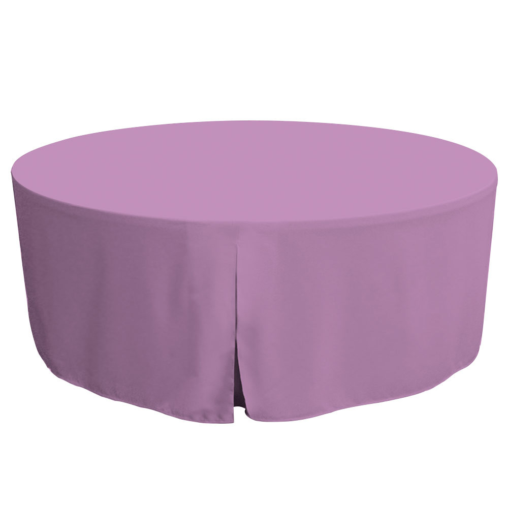 "Tablevogue is a fitted table cover or custom-sized table cloth. This fitted table cloth is a solid Lilac table cloth, or as we call it table cover, is designed to fit a standard 72-inch round folding table.  Made from 100% woven polyester 300 thread count fabric. Stitched edges create a custom look while to-the-floor coverage neatly disguises table legs. This table cloth cover makes outdoor entertaining and buffet style service a breeze!   Our custom fitted table cloth can be screen printed or embroidered to match your brand.  Dimensions: 29"" high x 72"" diameter, fits a standard 72-inch round folding table.  Care Instructions: 100% Polyester, Machine wash warm, tumble dry low. Patented Soil-Release Feature allows laundering at 120 degree water temp (as opposed to 160 degrees) - reducing rejects, providing a longer shelf life, conserving energy, and saving money.   More Info: Tablevogue offers a variety of table cloths including a card table covers, round table covers, banquet table covers, square table covers and rectangle table covers. Tablevogue fitted table covers are made to fit standard folding tables."