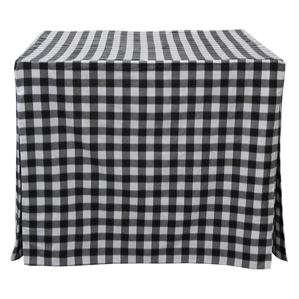 "You'll be the envy of the neighborhood. Our versatile 34"" card table cover in Red/White Picnic Plaid is perfect for game night, a bar setup, or a romantic dinner for two - the possibilities are endless!  Inverted box pleats offer a tailored look while providing ""give"" and offering ample leg room. The fabric feels like your favorite cotton poplin top and is ready for use straight out of the bag."