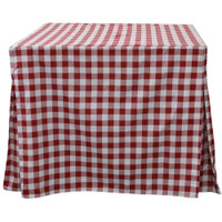 34-Inch Picnic Plaid Fitted Card Table Red White