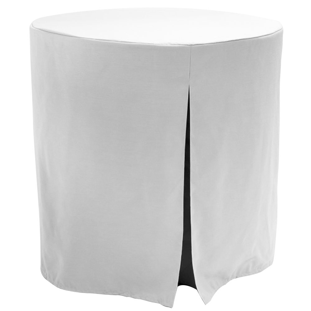 """Re-dis""""COVER"""" a favorite..transform your decorator/accent table into a modern sensation!  This 30-inch fitted decorator table cover is a custom-sized table cover in a fashionable signature solid. The decorator table cover is made from 100% woven polyester and premium thread count fabric. The stitched edges create a custom look while to-the-floor coverage neatly disguised table legs.   The 30"""" decorator table cover is the most precise table cloth design, specially made for the popular decorator table. It's great for showcasing in the bedroom, living room, second home, rental properties, guest home, first home, apartment or at the office. The genius design of decorator table cover allows for the pleats to be used front to back or side to side. Featuring washable, premium fabric that can be reused over and over again. Tablevogue decorator table covers offer the luxury of choosing between a modern, clean fit or an embellished, unique look when you add tassels, ribbon, toppers or more.   The 30"""" decorator table cover is a great, all-purpose, multi-functional table cloth size. Decorator tables make for great corner tables, food and drink stations at parties and events, night desks and so much more. It's one of the most popular table sizes used for a variety of events and features an ergonomic design. Many decorator tables might be old and shabby - give your trusty decorator new life with the Tablevogue's 30"""" decorator table cloth, specially designed to hide the old table underneath, turning it into a chic, stylish addition to your home or event decor.   Dimensions: 30"""" diameter x 30"""" high, fits a standard 30-inch decorator table.  Care Instructions: 100% Polyester, Machine wash warm, No or low tumble dry."""