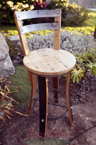 Round seat, along with a contoured back made from barrel staves and galvanized steel hoops.
