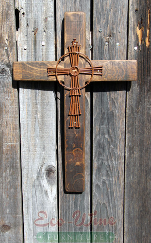 Cross, with decoration, by creatively combining particular symbols and images with wine barrel staves, each cross is a distinctive statement of faith.