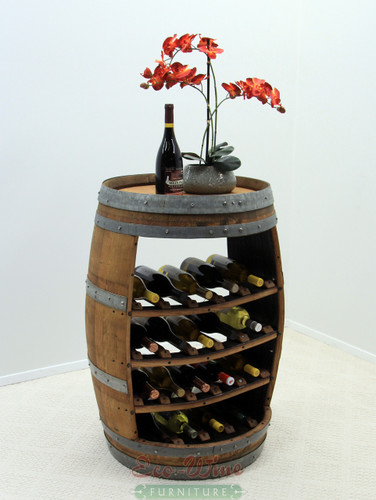 This stand-up wine bar rack features storage for 18 wine bottles on four shelves and gives you an impressive display of your favorite wines. Wine and glasses not included.