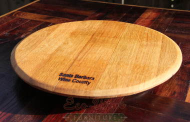 This Wine Barrel Lazy Susan is solid oak and features smooth-rolling ball-bearing turntable and a non-toxic finish that is safe for food use.