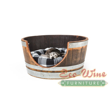 Our dog bed is a half barrel with an easy entry opening and comes with a pillow.