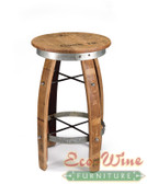 "Artisan stool with round seat and galvanized steel hoop accents, great in tight spaces and looks great anywhere as a decorative piece that is also useful too.  30""H x 16"" seat diameter"