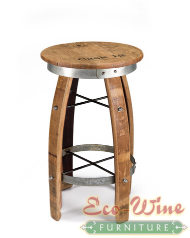 """Artisan stool with round seat and galvanized steel hoop accents, great in tight spaces and looks great anywhere as a decorative piece that is also useful too.  30""""H x 16"""" seat diameter"""
