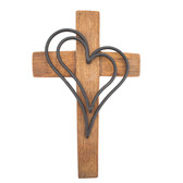 Wine Barrel Cross Double Heart Black 10'' 14'' 18''
