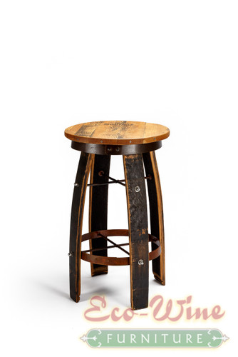 The  Stool has a unique, sturdy design including arched legs, a flat round seating surface of inlaid American  Oak, and a footrest made with rusty steel barrel rings.