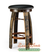 Whiskey Barrel Vinyl, Swivel , Stool Round