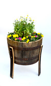 1/2  Whiskey Oak barrel planter With Legs/ Handmade