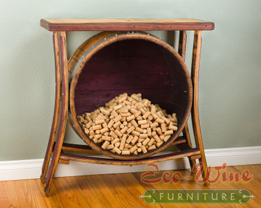 This magnificent furniture piece features a table top with large cork holder in the center. This would be a beautiful addition to your home or wine tasting room.