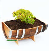 WINE BARREL TROUGH  HALF PLANTER