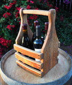 Sturdy oak carrier securely holds four wine bottles for transport and display. Special order only, not in stock. Wine not included.