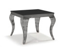 Chateau Side Table - Nickel Base with Black Tempered Glass Top (bf)