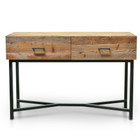 CDT2327-NI 1.2m Reclaimed Pine Console Table - Black Base (cf)