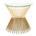 CDT2587-BS Glass Console Table - Brushed Gold Base (cf)
