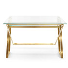 COF2589-BS Glass Home Office Desk - Brushed Gold Base (cf)