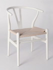 Replica Hans Wegner Wishbone Chair - White Frame (grain visible) Natural seat - Ash Timber