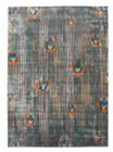 Peacock Feather Austin Rug Grey Blue Rust (ux)
