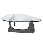 Replica Noguchi Coffee Table - Black Timber 20mm Tempered Glass