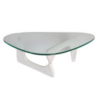 Replica Noguchi Coffee Table - White Timber 20mm Tempered Glass