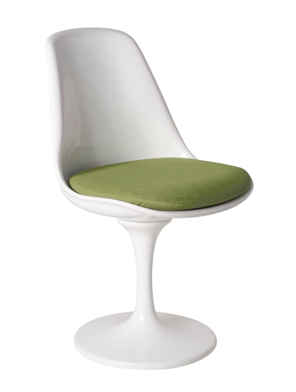 Replica Tulip Chair White Fibreglass Green Cushion
