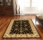 Classic Rug Black with Ivory Border (ux)