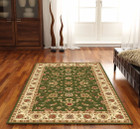 Classic Rug Green with Ivory Border (ux)