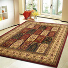 Traditional Panel Pattern Rug Burgundy (ux)