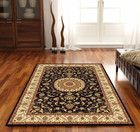Medallion Rug Black with Ivory Border (ux)