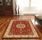 Medallion Rug Red with Ivory Border (ux)