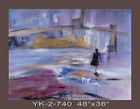 Frameless Hand Painted Oil Painting-walking woman on ice - 122x91cm