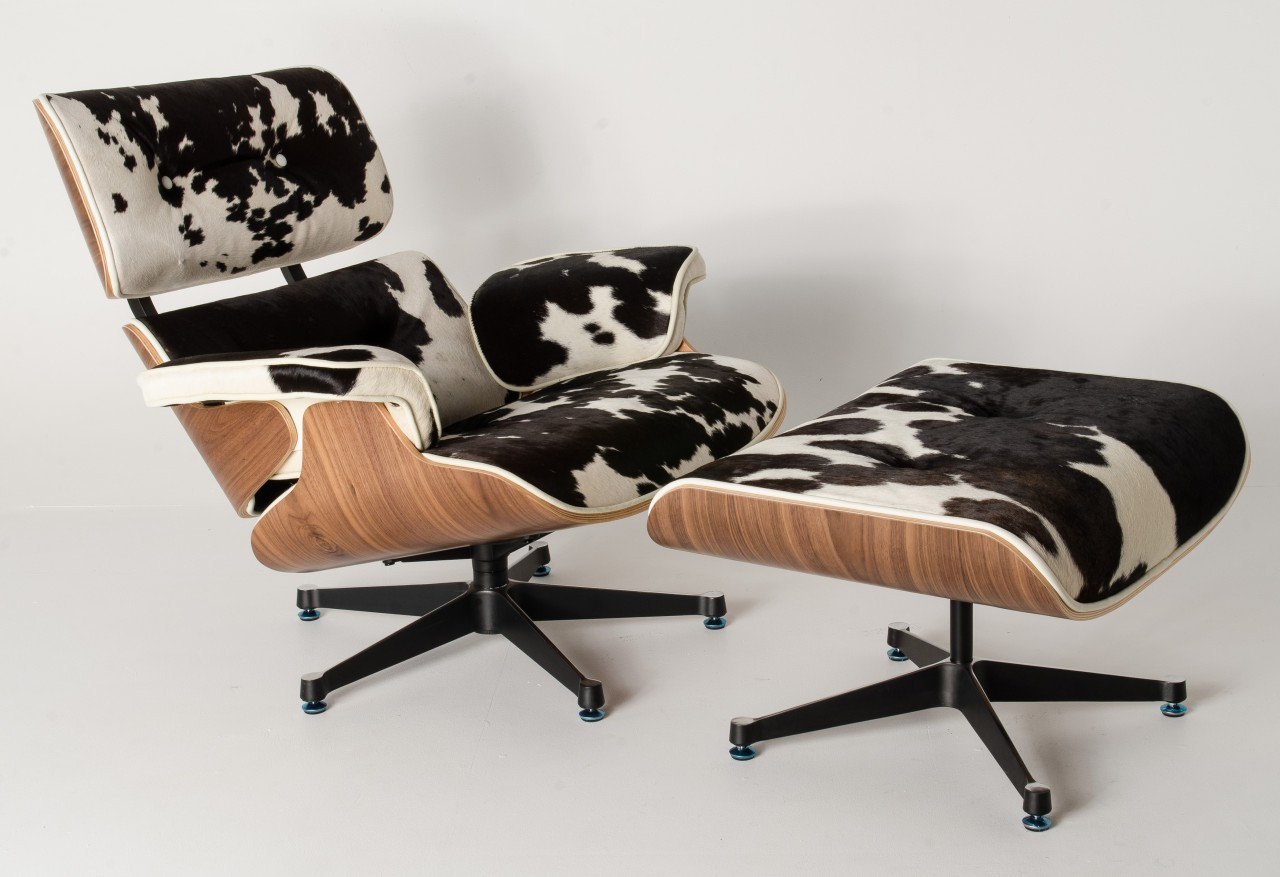 Swell Replica Eames Lounge Chair Ottoman Black Cowhide Leather Theyellowbook Wood Chair Design Ideas Theyellowbookinfo