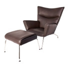 Replica Hans Wegner CH445 Wing Chair+footstool-full italian brown leather