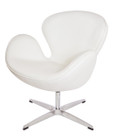 Replica Swan Chair - Premium Italian Leather - Pure White