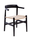 Replica Hans Wegner PP68 Dining Chair - Black frame with natural cushion