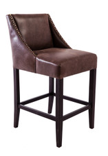 Timber High Back Barstool With Studs Milano Republic