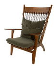 Replica Hans Wegner Arm Chair-Walnut timber with dark green/brown wool fabric