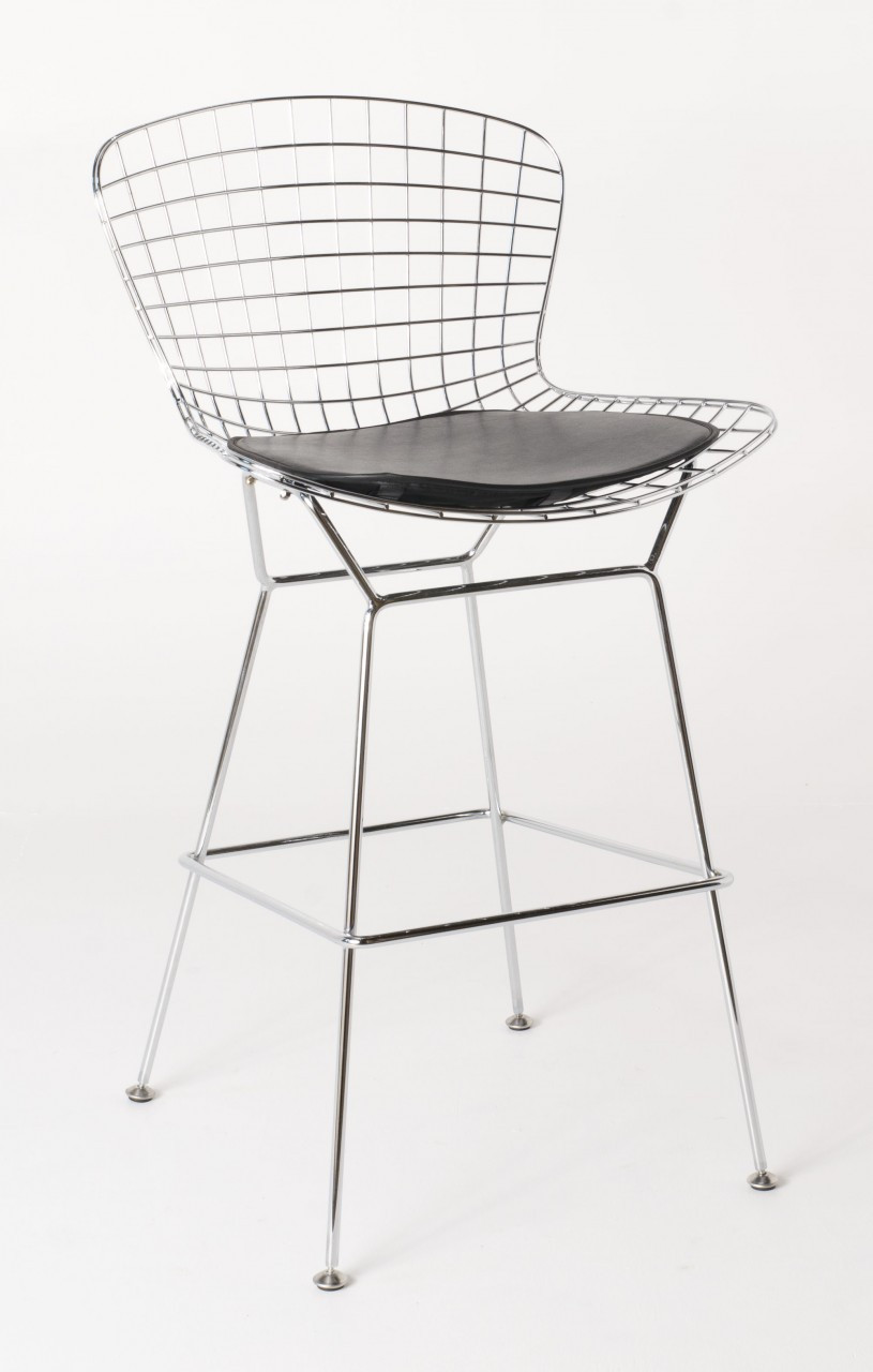 factory authentic 221eb 707f3 Replica Harry Bertoia Wire Bar Stool - 61cm - Chrome - various colour  cushions