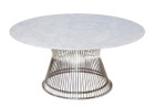 Replica Warren Platner Coffee Table - Stainless Steel - Marble Top (black or white) - 80cm