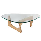 Replica Noguchi Coffee Table - Natural Timber 20mm Tempered Glass