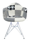 Replica Eames DAR Eiffel Armchair - black/white patchwork - Chrome Legs