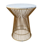Replica Warren Platner Lamp/Side Table-Rose Gold Frame with Marble Top